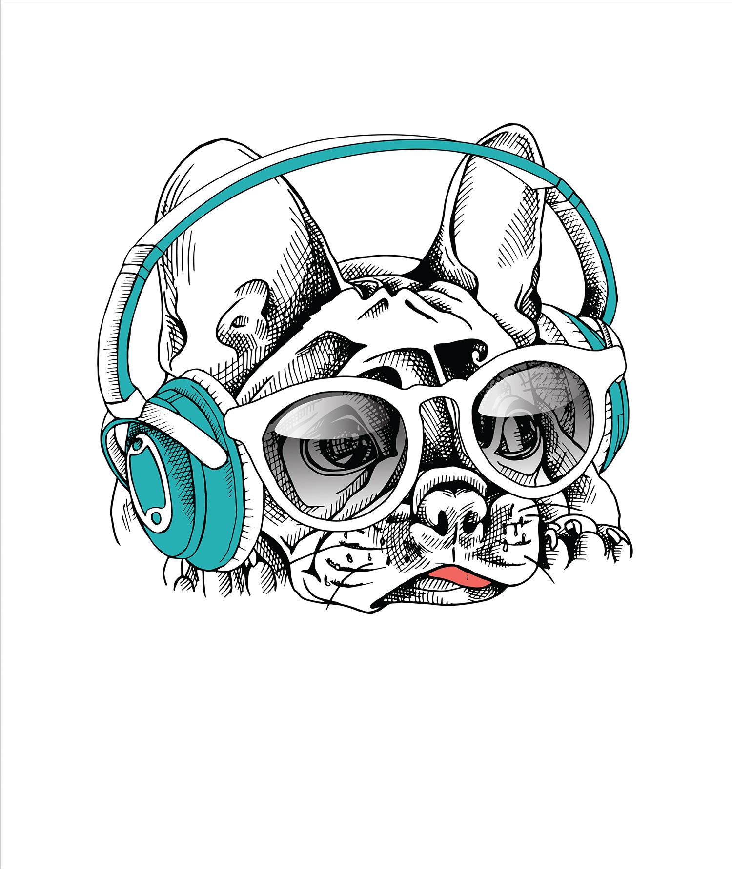 Sweatstoff Panel Französische Bulldogge 42x50 cm Sommersweat Stoff